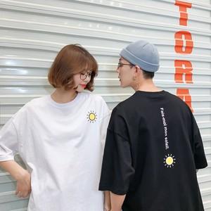 【トップス】カジュアルアルファベットプリント合わせやすい清新半袖Tシャツ