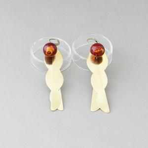飛騨春慶のピアス 箔×紅/真鍮[E299]