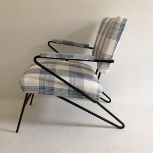 mid century hairpin legs arm chair  blue x white checked