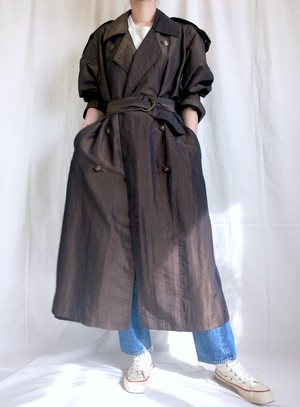 vintage nylon maxi trench coat