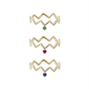K18 zig-zag ring with birthstone #0-#4