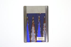 アモルフ【外側紺】ロールペンケース 展 クラリーノ紺 ✕ セネガル生地②
