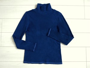 ◆100%自然素材 天然灰汁発酵建て 本藍染◆ オーガニックコットン(中空糸) タートルネック トップス(LL、3L、4Lサイズ))