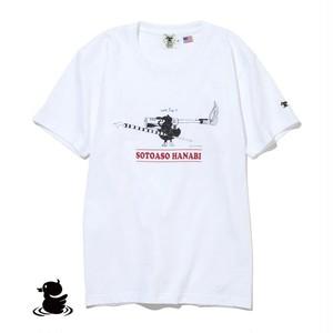 grn outdoor SOTOASOBI S/S TEE(HANABI:柄B) go105M Tシャツ ダックロー アウトドア クルーネック 天竺 綿