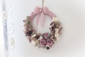 プリザーブドフラワー藤色とくすみピンクのリース