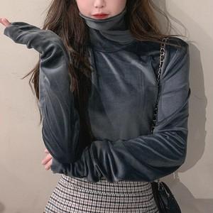 【トップス】ディースファッション多色展開ベルベット生地シンプル長袖ハイネック無地Tシャツ27348487
