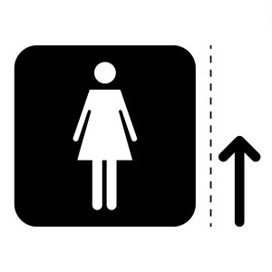 女性トイレ標識のカッティングステッカーシール