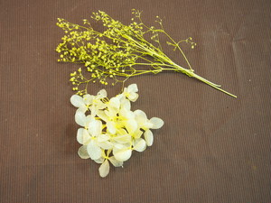 【店頭渡し】プリザーブドフラワー紫陽花とかすみ草セット 黄色 551