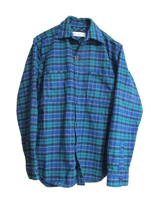 flannel check shirt / green