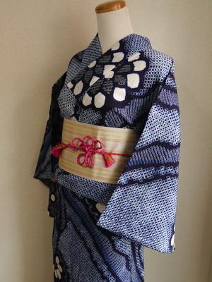 【3点セット/トータルコーデ/浴衣】大人っぽく粋な絞り浴衣と博多帯