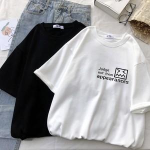 カジュアル オシャレ シンプル ラウンドネック 半袖 可愛い 絵文字 Tシャツ・トップス