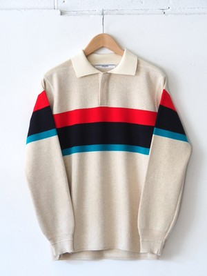 FUJITO Rugger Sweater Border,Navy,Charcoal