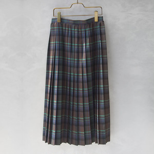 AURALEE SUPER LIGHT WOOL CHECK PLEATED SKIRT BROWN CHECK