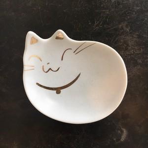 白ネコ豆皿 ネコ型シリーズ【瀬戸焼】