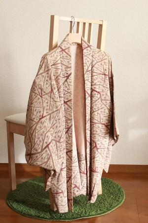 羽織 Haori 赤茶 紅型風