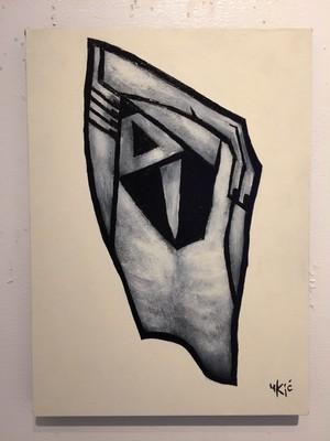 山田裕吉「泣く男」33.5×24.5cmパネルに和紙。アクリル、ミクストメディア