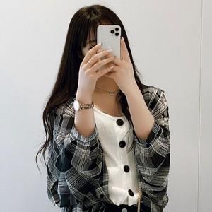 取り寄せ商品:【園田乃彩様着用】ベルスリーブチェックシャツ