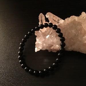 黒水晶(モリオン)邪気祓いブレス / 6㎜玉-15.5㎝