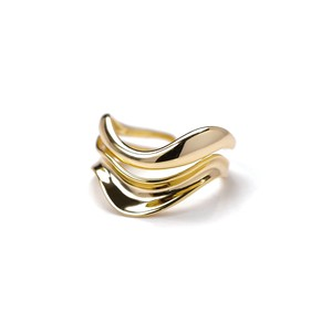 S925 THICK LAYERED WAVE RING GOLD