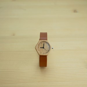 六角形 Cherry wood - Organic leather Honey - S