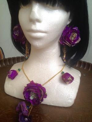 薔薇ピアス&ネックレスset-purple
