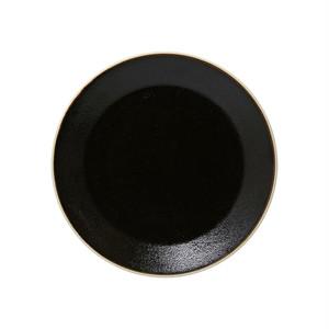 益子焼 つかもと窯 伝統釉 フラット プレート 皿 S ゆず肌黒 TH-5