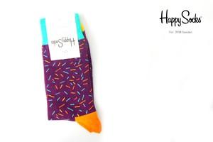 ハッピーソックス|happy socks|クルー丈カジュアルソックス|パープル×オレンジ×ブルー