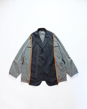 custom switching jacket  (gray nylon&orange pipingtape)