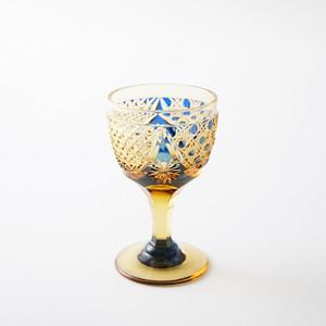江戸切子 冷酒グラス 送料無料 無料包装 結婚祝 記念品 古希祝 退職祝 誕生日プレゼント アンバー(琥珀色)クリスタルガラス 食前酒グラス(瑠璃)