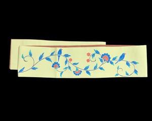 麻×木綿リバーシブル半幅帯「文鳥唐草」レモンイエロー