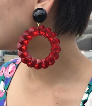 Vintage red × black large earrings ( ヴィンテージ  赤 ビジュー 大ぶり イヤリング )