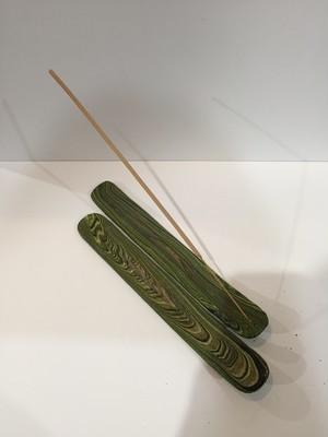 お香立て マーブル柄 平型 グリーン系