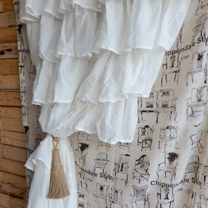 TOPANGA INTERIOR COTTON VOILE RUFFLED CURTAIN コットンボイルラッフルカーテン W105xH200cm
