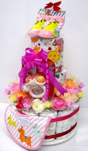 出産祝い オムツケーキ 3段おむつケーキ ロディ3R 女の子用ピンクリボン