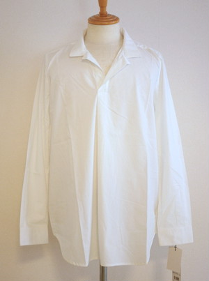 Cotton-Cloth Stand Collar Pullover Shirts White