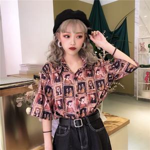 【トップス】chicレトロ半袖シングルブレストPOLOネックシャツ27515113