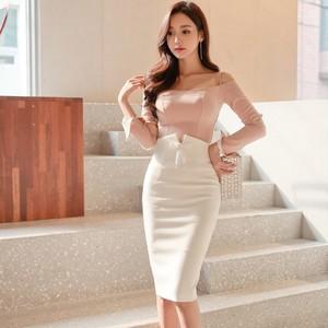 【ワンピース】高級の知的 リボン飾り ハイウエスト タイト OL/通勤 スカート26824057