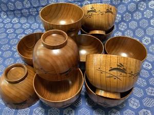 うさぎ彫 汁椀 木製うるし塗