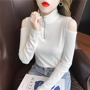 【トップス】韓国系長袖スタンドネックプルオーバーTシャツ50989406