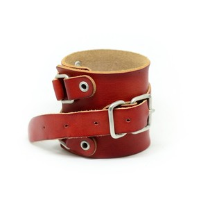 rotten leather wristband red