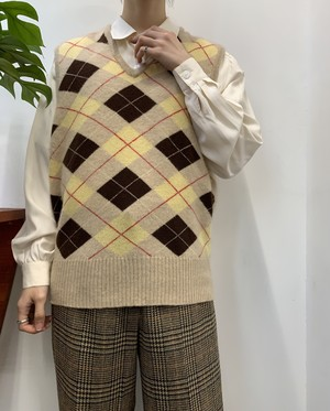 MADE IN AUSTRIA Marshall Field&Company cashmere argyle knit vest 【M位】