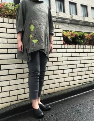 ナチュラルリネン&ガーメントリーフチュニック【212-1133】