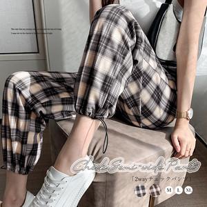 【即納】チェックセミワイドパンツ レディース fa2361