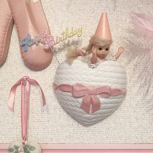pink ribbon heart shelf