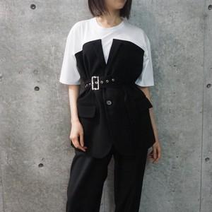 【WOMENS - 1 size】VEST DETAIL DOCKING TOP / Black
