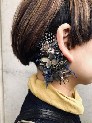 羽根と紫陽花のイヤーフック