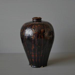 田村文宏|鉄釉印花文瓶子 Fumihiro TAMURA iron glazed vase(L)