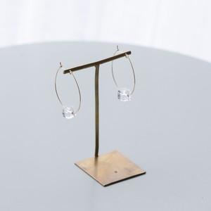 JEPUN crystal hoop pierced earrings