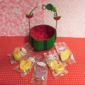 フエルト製スイカケースに夏の焼き菓子5袋詰め合わせ♪