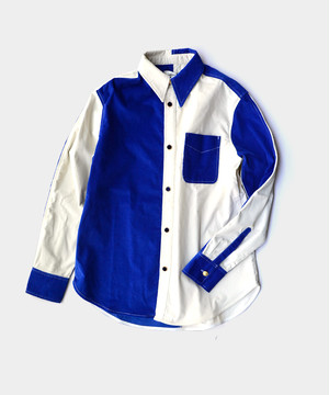 WALES BONNER	MONTEGO COLOUR BLOCK SHIRT	IVORY/BLUE
